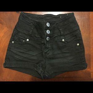 1st Kiss Highwaisted Black Jean Shorts